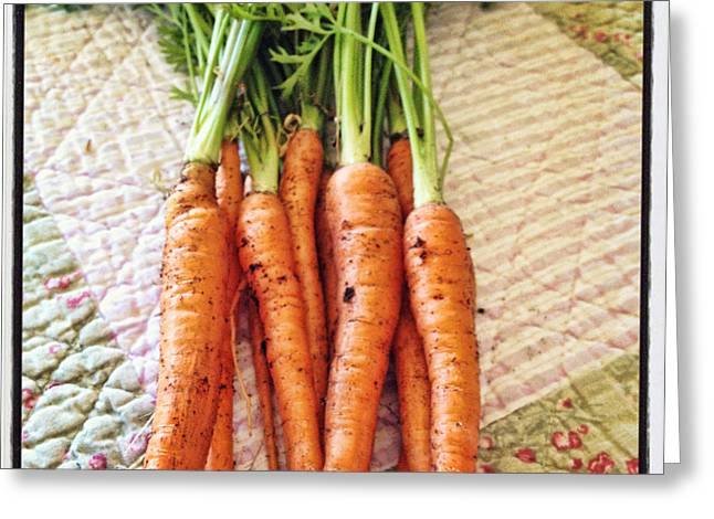 Fresh Produce Greeting Cards - Carrots Greeting Card by Nancy Ingersoll