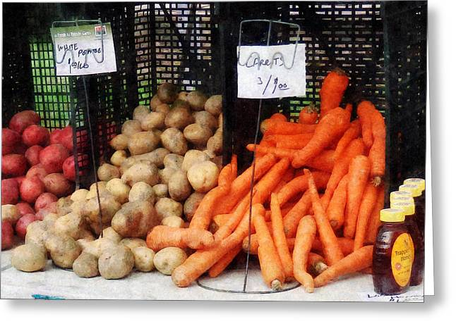 Carrot Greeting Cards - Carrots Potatoes and Honey Greeting Card by Susan Savad