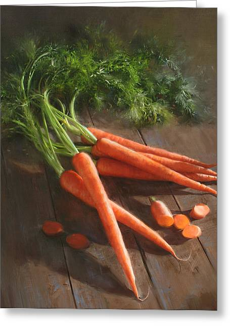 Cooks Illustrated Paintings Greeting Cards - Carrots Greeting Card by Robert Papp