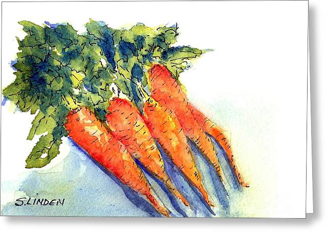 Fruits And Vegetables Greeting Cards - Carrots Greeting Card by Sandy Linden