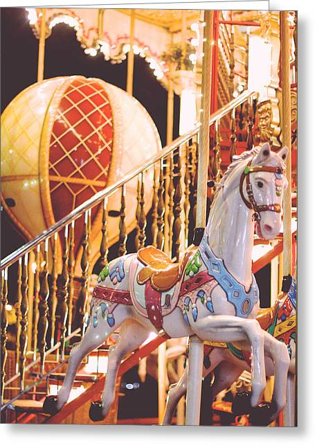 Belle Epoch Greeting Cards - Carrousel Horse on the Champ de Mars Paris Greeting Card by Heidi Hermes