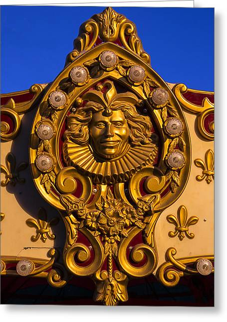 Amusements Greeting Cards - Carrousel Ride Gold face Greeting Card by Garry Gay