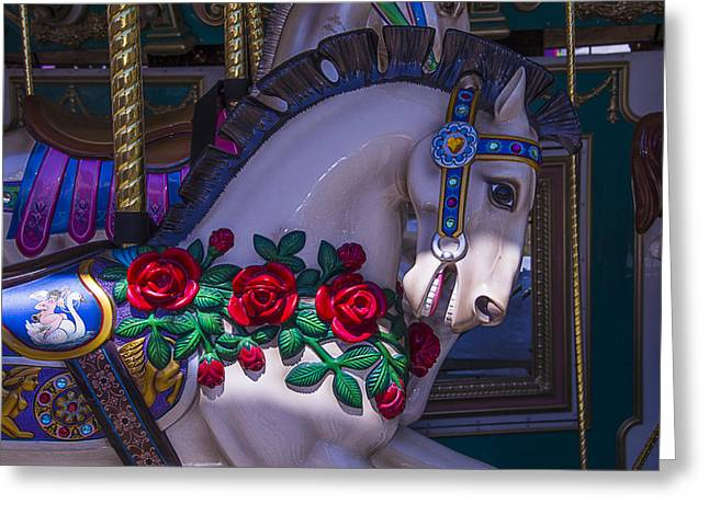 Amusements Greeting Cards - Carrsoul Horse With Roses Greeting Card by Garry Gay