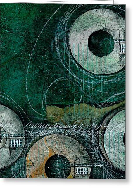 Abstract Collage Greeting Cards - Carry me away Greeting Card by Laura  Lein-Svencner