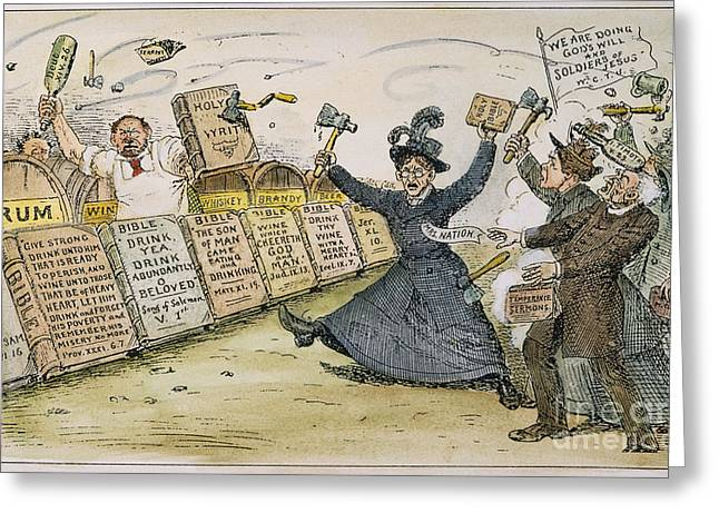 1901 Greeting Cards - Carry Nation Cartoon, 1901 Greeting Card by Granger