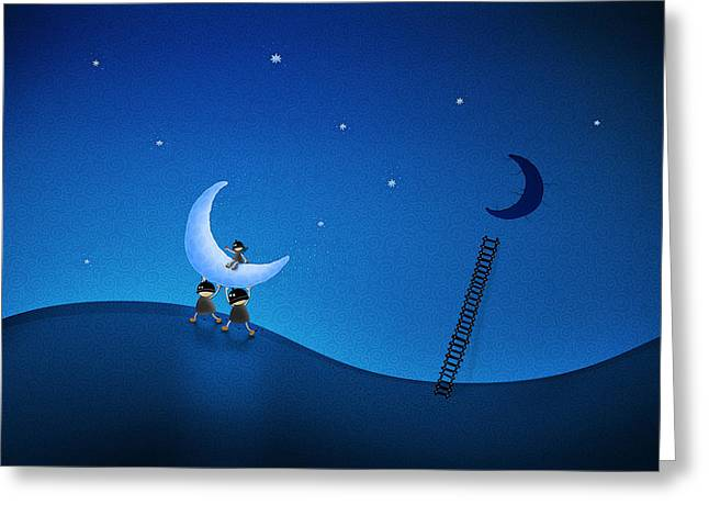 Dark Skies Greeting Cards - Carry the Moon Greeting Card by Gianfranco Weiss