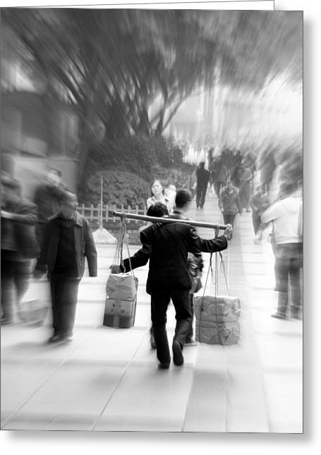 Labor Day Greeting Cards - Carrying Man Greeting Card by Valentino Visentini