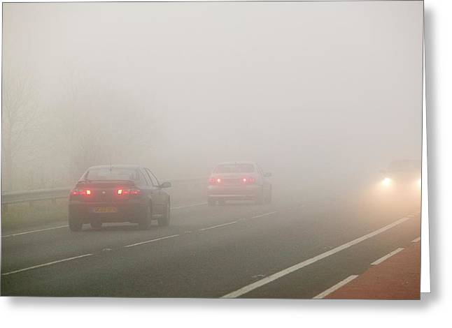 Cars Driving In Misty Conditions Greeting Card by Ashley Cooper