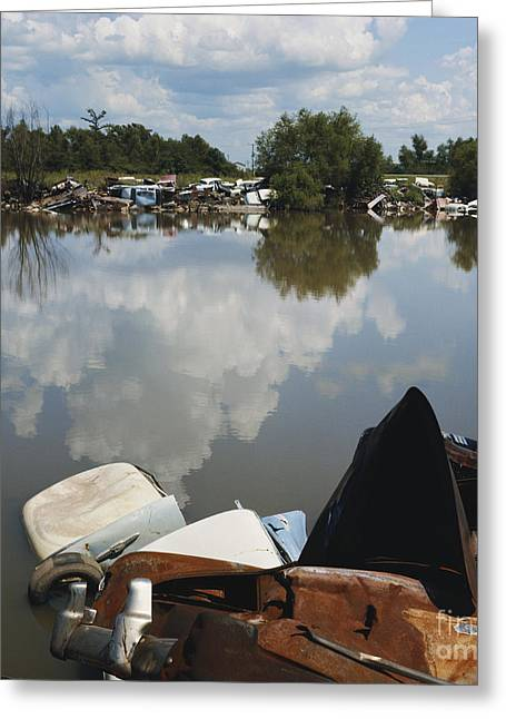 Rusted Cars Greeting Cards - Cars Dumped At Lake Greeting Card by Van D. Bucher