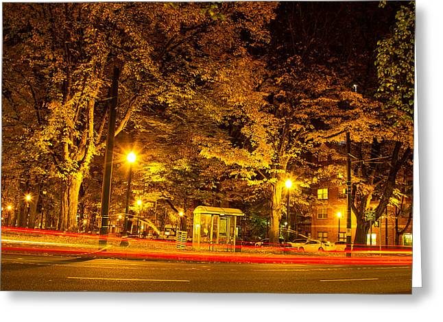 Downtown Portland Greeting Cards - Cars go by my window Greeting Card by Kunal Mehra