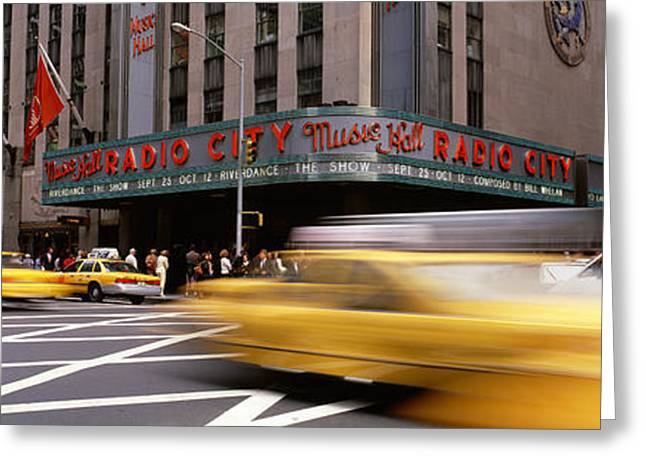 Flag Of Usa Greeting Cards - Cars In Front Of A Building, Radio City Greeting Card by Panoramic Images