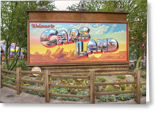 Anaheim California Greeting Cards - Cars Land Greeting Card by Ricky Barnard