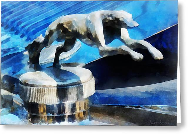 Susan Savad Greeting Cards - Cars - Lincoln Greyhound Hood Ornament Greeting Card by Susan Savad