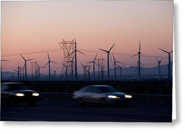 Headlight Greeting Cards - Cars Moving On Road With Wind Turbines Greeting Card by Panoramic Images