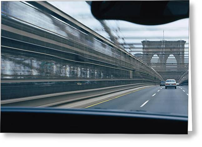 Life Speed Greeting Cards - Cars Moving On The Bridge, Brooklyn Greeting Card by Panoramic Images