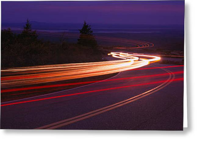 Double Yellow Line Greeting Cards - Cars Moving On The Road, Mount Desert Greeting Card by Panoramic Images