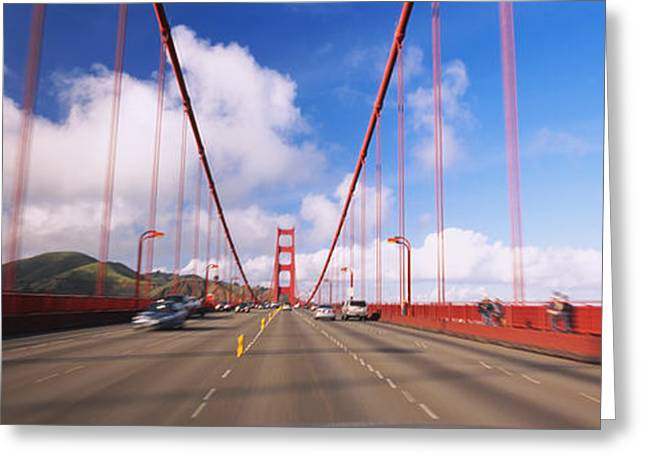 Famous Bridge Greeting Cards - Cars On A Bridge, Golden Gate Bridge Greeting Card by Panoramic Images