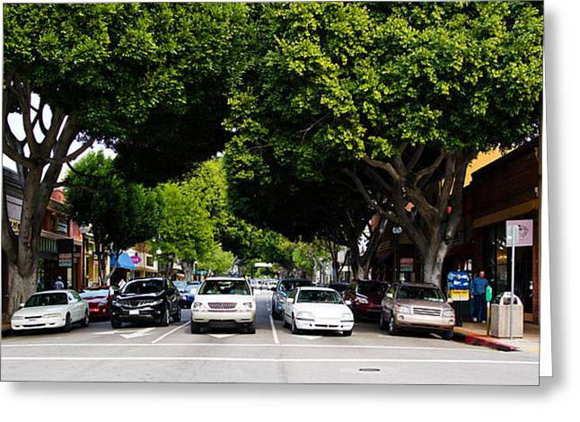 San Luis Obispo Greeting Cards - Cars On The Road In Downtown San Luis Greeting Card by Panoramic Images