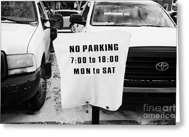 Work Space Greeting Cards - cars parked beside no parking cover on a parking meter during winter Saskatoon Saskatchewan Canada Greeting Card by Joe Fox