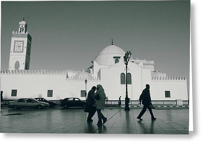 Mode Of Transport Greeting Cards - Cars Parked In Front Of A Mosque Greeting Card by Panoramic Images
