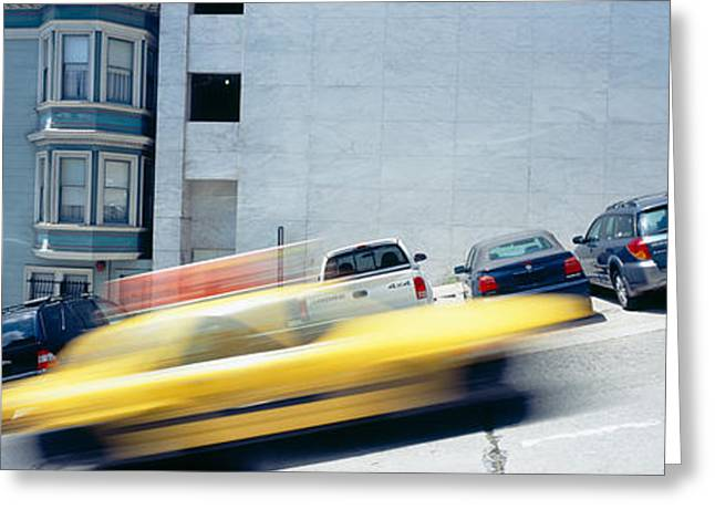 In A Park Greeting Cards - Cars Parked On The Roadside, San Greeting Card by Panoramic Images