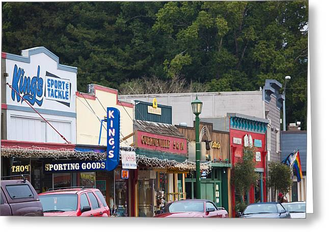 Sonoma County Photographs Greeting Cards - Cars Parked Outside Stores In A City Greeting Card by Panoramic Images