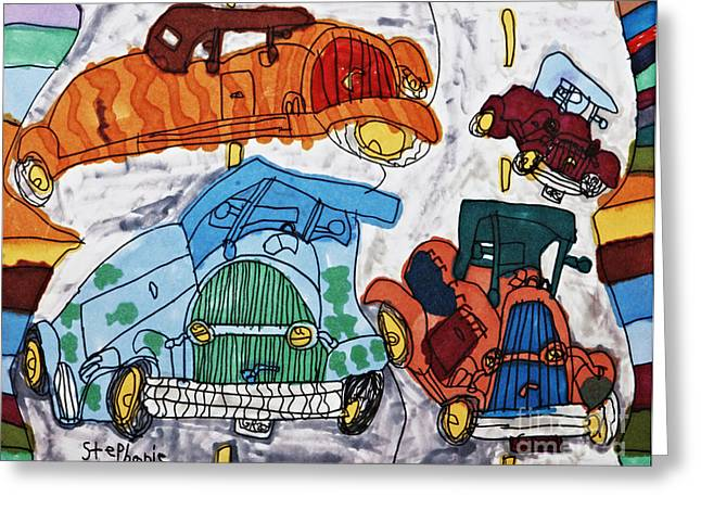 Roadway Drawings Greeting Cards - Cars Greeting Card by Stephanie Ward
