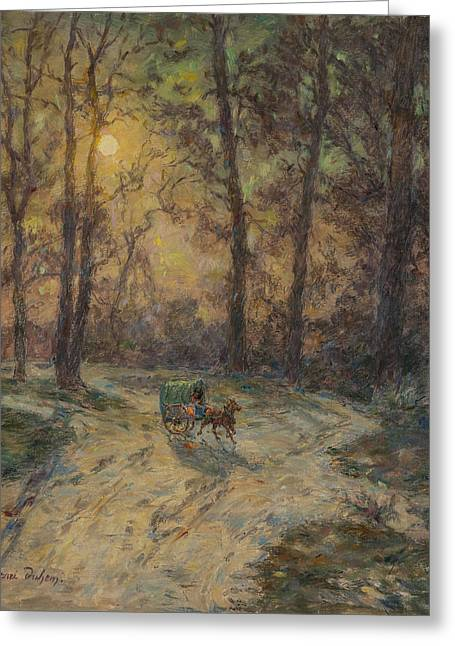 Drawn Landscape Greeting Cards - Cart In A Wood Oil On Canvas Greeting Card by Henri Duhem