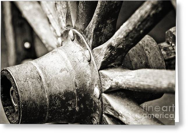Spokes Greeting Cards - Cart Wheel Greeting Card by Scott Pellegrin