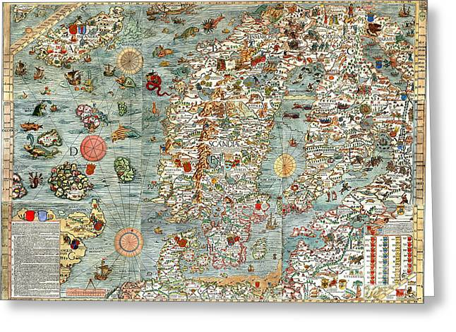 Vintage Map Paintings Greeting Cards - Carta Marina map of Scandinavia by Olaus Magnus - 1539 Greeting Card by Pablo Romero