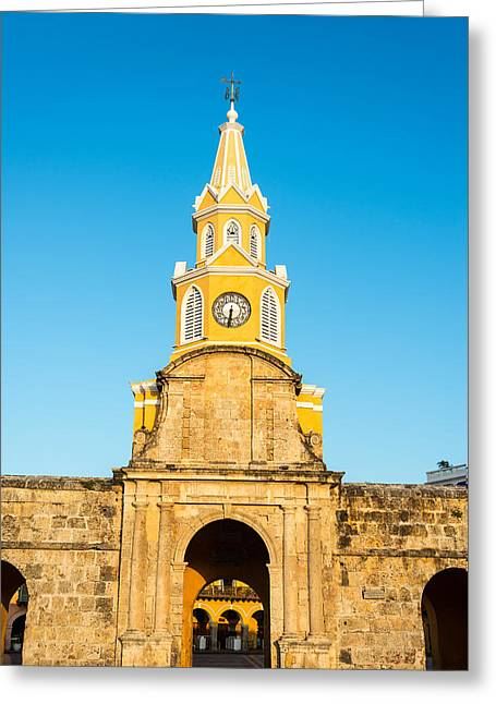 Historic Architecture Greeting Cards - Cartagena Clock Tower Gate Greeting Card by Jess Kraft