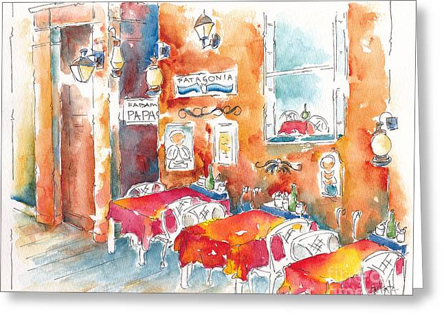 Raw Sienna Greeting Cards - Cartagena Colombia Cafe Greeting Card by Pat Katz