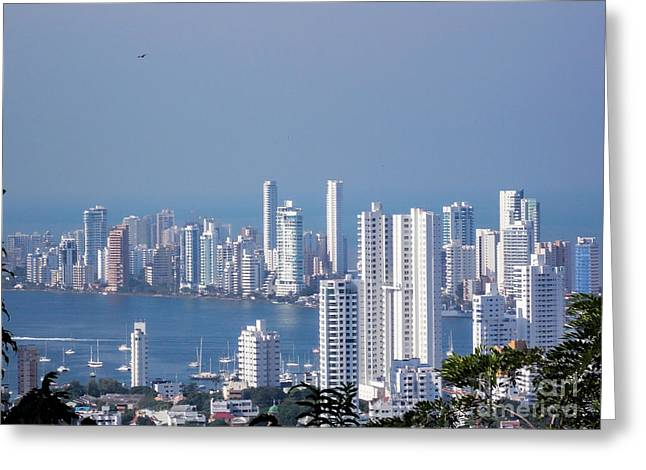 Buildings By The Ocean Greeting Cards - Cartagenha Columbia in a Distance Greeting Card by Gena Weiser