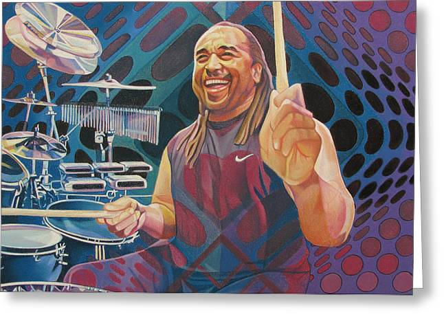 Drummer Greeting Cards - Carter Beauford Pop-Op Series Greeting Card by Joshua Morton