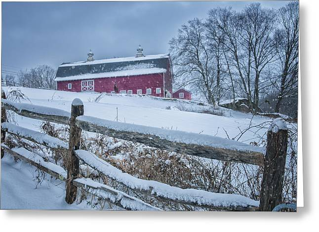 Split Rail Fence Greeting Cards - Carter Farm - Litchfield Hills Winter scene Greeting Card by Thomas Schoeller