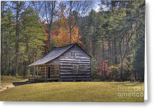 Mountain Cabin Greeting Cards - Carter-Shields Cabin Greeting Card by Crystal Nederman