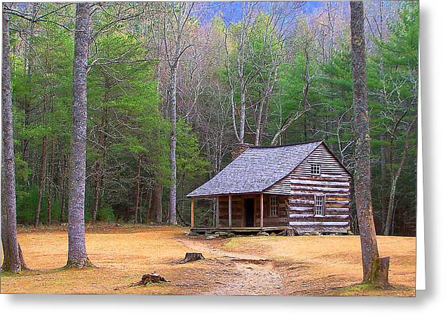 Tennessee Historic Site Photographs Greeting Cards - Carter Shields Cabin II Greeting Card by Jim Finch