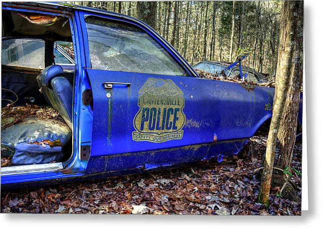 Pine Needles Greeting Cards - Cartersville Police Car Greeting Card by Greg Mimbs