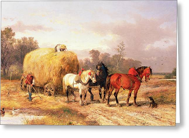 Working Dog Greeting Cards - Carting Hay, 19th Century Oil On Canvas Greeting Card by Alexis de Leeuw