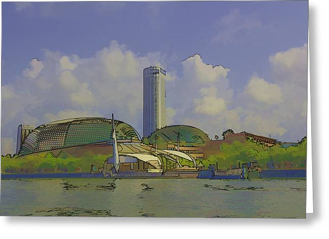 Swissotel Greeting Cards - Cartoon - A tall hotel the Swissotel hotel in Singapore behind the Esplanade Greeting Card by Ashish Agarwal
