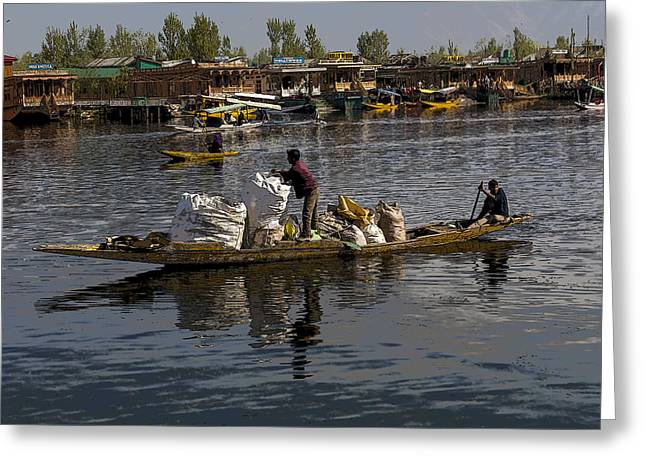 Ply Greeting Cards - Cartoon - Balancing large bags on a small boat in the Dal Lake in Srinagar Greeting Card by Ashish Agarwal