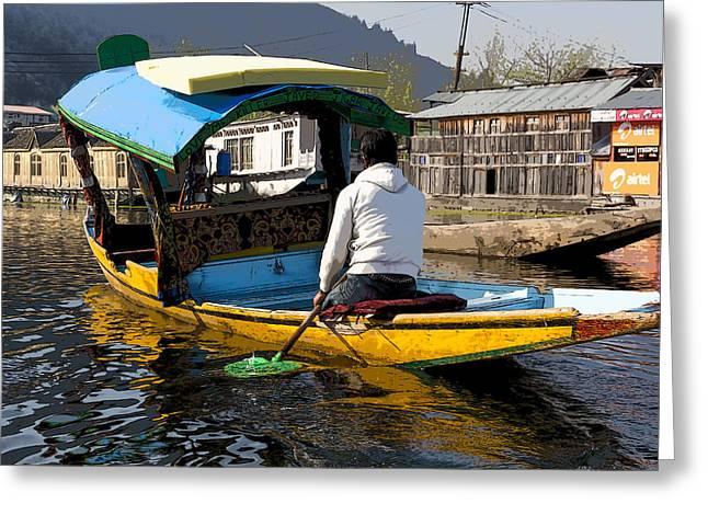 Ply Greeting Cards - Cartoon - Kashmiri man driving this shikara in the still waters of the Dal Lake in Srinagar Greeting Card by Ashish Agarwal