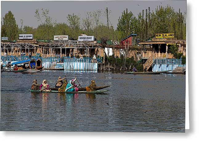Ply Digital Greeting Cards - Cartoon - Ladies on 2 wooden boats on the Dal Lake with the background of houseboats Greeting Card by Ashish Agarwal