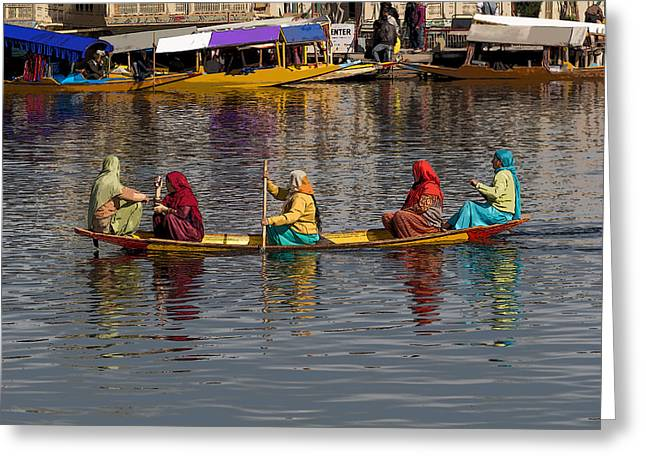 Ply Digital Greeting Cards - Cartoon - Ladies on a wooden boat on the Dal Lake with the background of Hoseboats Greeting Card by Ashish Agarwal