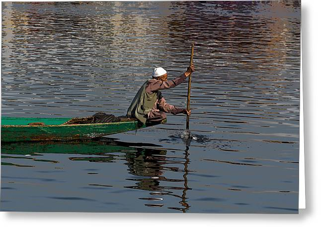 Ply Greeting Cards - Cartoon - Man plying a wooden boat on the Dal Lake Greeting Card by Ashish Agarwal