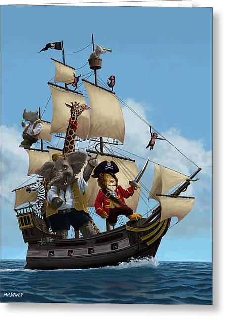 Buccaneer Greeting Cards - Cartoon Animal Pirate Ship Greeting Card by Martin Davey