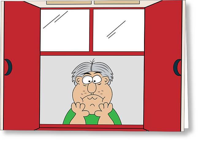 Cartoonist Digital Art Greeting Cards - Cartoon Bored Old Man at Window Greeting Card by Toots Hallam