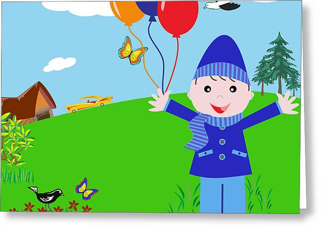Balloon Flower Digital Art Greeting Cards - Cartoon Boy with Balloons in the Park Greeting Card by Toots Hallam