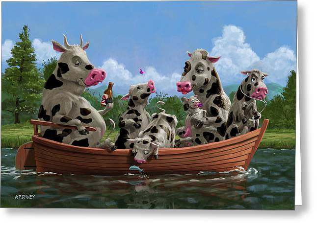 Day Out Greeting Cards - Cartoon Cow Family on Boating Holiday Greeting Card by Martin Davey