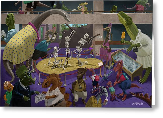 Day Out Greeting Cards - Cartoon Dinosaur Museum Greeting Card by Martin Davey
